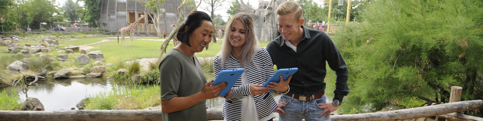 vrienden, collega's etc ontrafelen met de Blijdorp-game op een tablet het geheim van de dierentuin