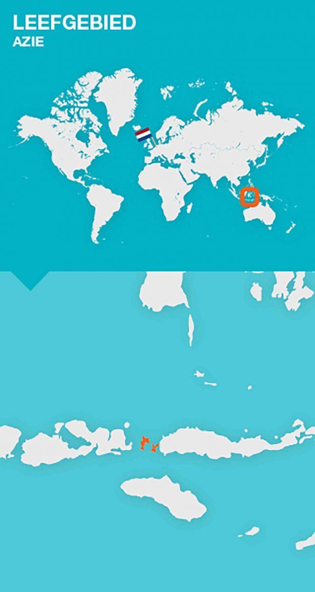 wereldkaart herkomst komodovaraan